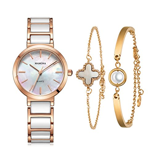 MAMONA Women's Watch and Bracelet Gift Set Rose Gold Stainless Steel and White Ceramic (Steel White Ceramic)