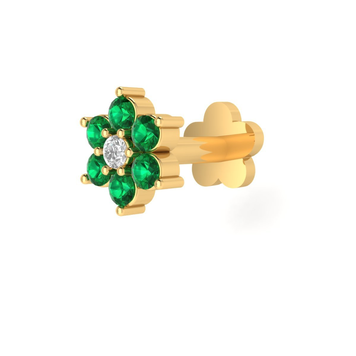 Animas Jewels DGLA Certified 14k Yellow Gold Flower Stud Nose Pin for Women 0.02 Cttw Natural Diamond (G-H Color. SI1 Clarity) and Green Emerald Round 3-Prong Setting. Available Length 8 mm by Animas Jewels