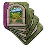 3dRose cst_36573_3 Napa Valley Window-Ceramic Tile Coasters, Set of 4