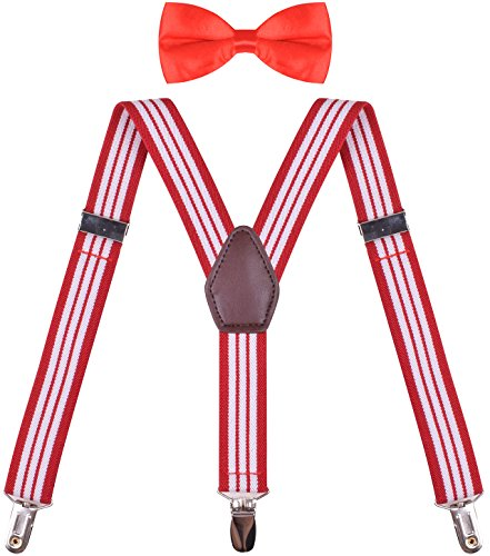 ORSKY Newborn Suspender with Bow Tie Set Adjustable Y Back Red White Striped