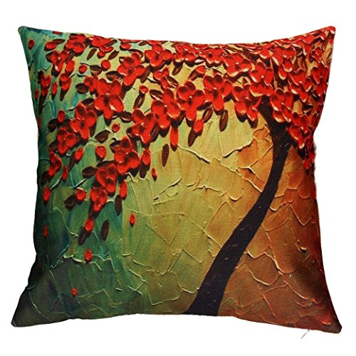 Pillow Cases,IEason Clearance Sale! Pillow Case Sofa Flower Tree Waist Throw Cushion Cover Home Decor (Yellow)