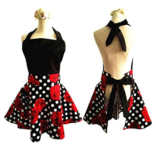 - SMARTitns Aprons for Women Plus Size, Womans Apron Retro Vintage Kitchen Cooking Aprons with Pocket(Black+Red)