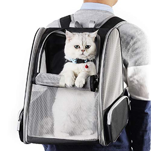 Texsens Innovative Traveler Bubble Backpack Pet Carriers for Cats and Dogs (Grey)