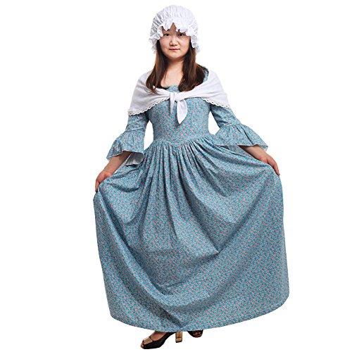GRACEART Pioneer Colonial Women Costume Dress Blue size-14