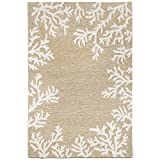 Liora Manne CA057A71612 Monaco Shell Border Rug, Indoor/Outdoor, 5' x 7'6'', Neutral