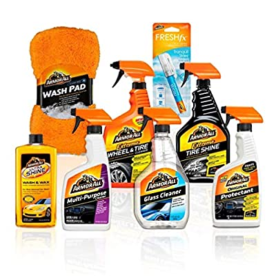 Armor All Premier Car Care Kit (8 Items) - 3pc Ultra Wax & Wash Kit, 3pc Interior, Glass Cleaner & Air Freshener and 2pc Tire Shine & Wheel Kit, 18574: Automotive