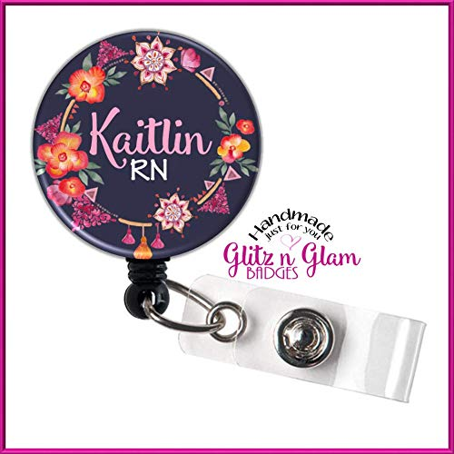 (Personalized Retractable Badge Holder ID, Retractable Name Badge Reel, Nurse ID Badge Holder, Nurse Retractable Badge Holder - GG4417)