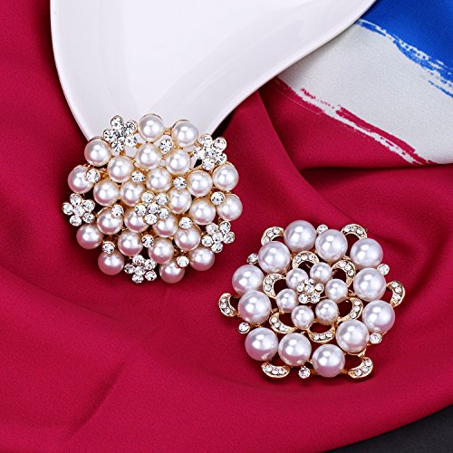 WeimanJewelry Silver/Gold Plated 24pcs Crystal Rhinestones Brooch Pins for DIY Wedding Bouquets Kit (Gold large 6pcs) by WeimanJewelry (Image #3)