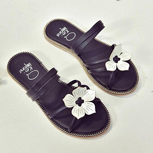 Zapatillas Mujer, Internet Zapatillas de flores bohemia verano mujer Negro