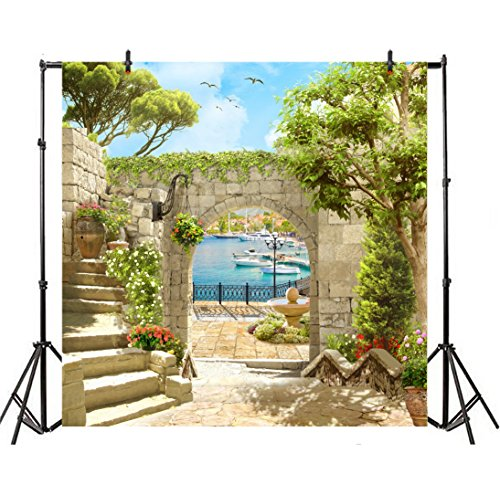 (Leyiyi Spring Outdoor Seaside Scenery Backdrop 7x7ft Photography Backdrop Old Ancient Italian Building Green Plants Baby Vintage Stone Arch Sea Water Family Friends Girl Party Video Props)