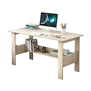 GOTDCO. Modern Simple Writing Computer Desk,PC Laptop Study Table with Storage Shelf, Simplistic Study Table Bookcase TV Stand Natural Wood Grain Workstation for Home Office Notebook Desk (B)