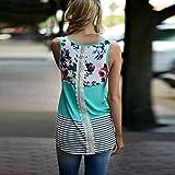 IEason Women Blouse Women Floral Print Lace Patchwork Tank Top Vintage Casual Sleeveless T-Shirt (S, Green)