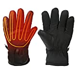 Heated Gloves for Men Fingers Hands Warmer for Ski Motorcycle Hiking Hunting Electric Heated Gloves Windproof Waterproof for Winter Powered by USB Power Bank Battery Heated Gloves(no include battery)