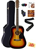 Fender CD-60 Dreadnought Acoustic Guitar Bundle with Hard Case, Strap, Strings, Tuner, Picks, Austin Bazaar Instructional DVD, and Polishing Cloth - Sunburst