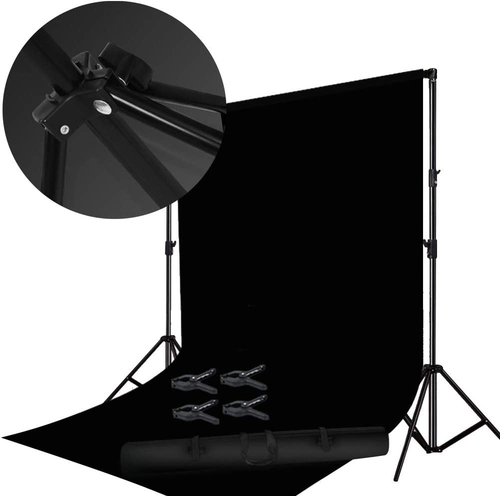 Backdrops For Photoshoot Background Clothing Photo Studio 3 Foot Stand Stable Telescopic Easy To Install Character Photo Outdoor, 6 Colors (Color : Black, Size : 300x600cm)