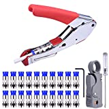 NOUVCOO Compression Tool Kit, RG59 RG6 Coax Crimping Tool Double Blades Coaxial Cable Stripper with 20pcs Blue F Connectors for Cable TV Video Audio NC41