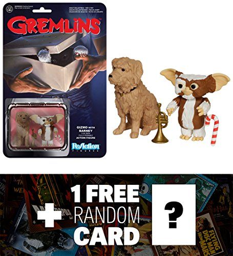 Gizmo w/ Barney: Funko ReAction x Gremlins Action Figure + 1 FREE Classic Horror & Sci-fi Movies Trading Card Bundle (055073)
