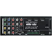 J-Tech Digital Latest Generation Multi-Functional HDMI Audio Extractor with 8 Inputs to 1 HDMI Output with Optical / Coaxial 5.1 Channel Support 3D & Surround Sound