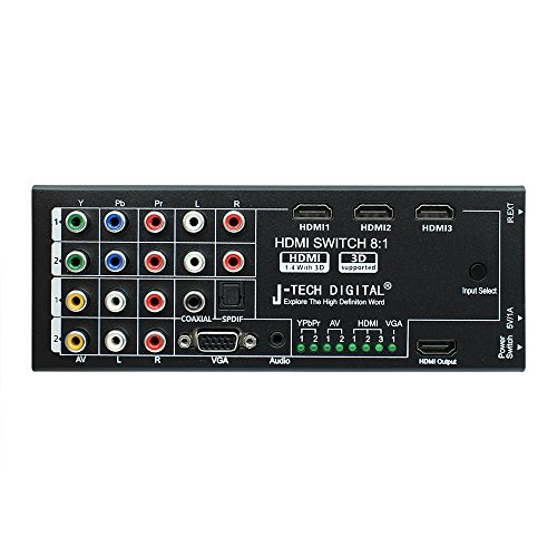 J-Tech Digital Latest Generation Multi-Functional HDMI Audio Extractor with 8 Inputs to 1 HDMI Output with Optical / Coaxial 5.1 Channel Support 3D & Surround Sound by J-Tech Digital