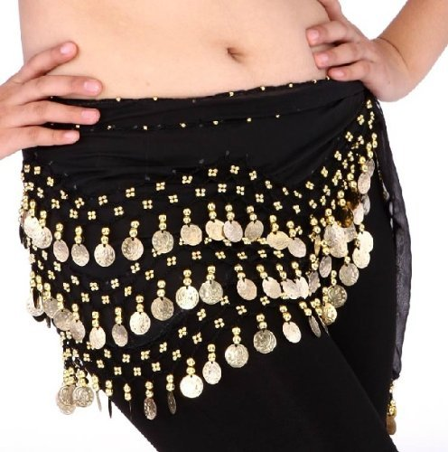 Dance Costumes Hip Scarf Coin (Buy Home Chiffon Dangling Silver Coins Belly Dance Hip Skirt Scarf Wrap Belt (Black))