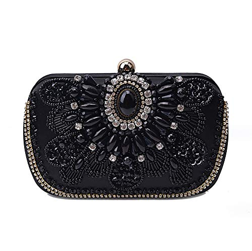 Womens Mariage Main Clutch De Les À Crystal Bag Sparkly Sac Beautiful Black Black pour Dames KOKR xwEqIXx