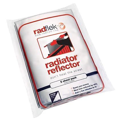 Radflek - Reflectores para radiadores (5 hojas, 4 tiras adhesivas reflectantes, para 5