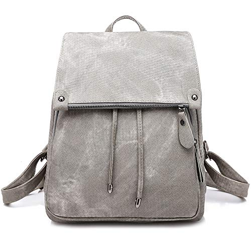 8209b7fd34b2 Everfunny Women Backpack Waterproof Anti-Theft Lightweight PU Fashion  Leather Nylon School Shoulder Bag Travel Cute Backpack Girls Ladies Grey