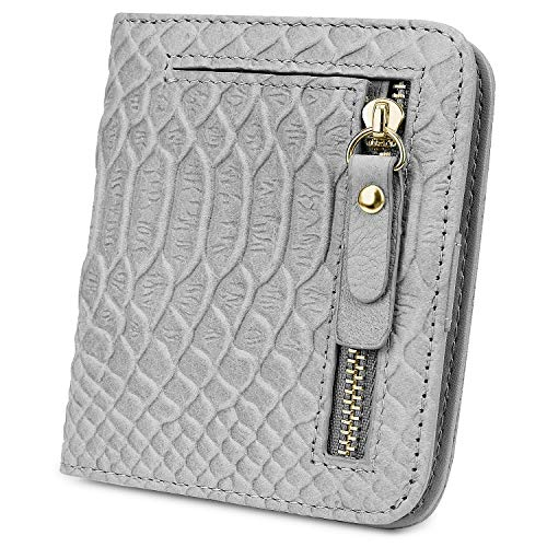 YALUXE Women's RFID Blocking Small Compact Snakeskin Style Leather Wallet Ladies Mini Purse with ID Window
