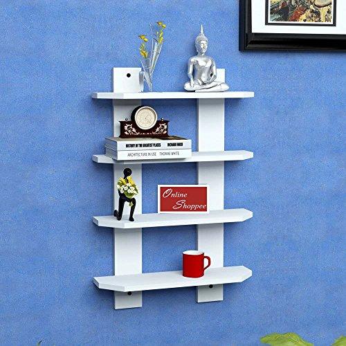 Onlineshoppee Floating MDF 4 Shelf Ladder Shape Wall Shelves   White