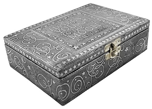 (VGI Elegant Jewelry Box with Hammered Metal Cladding and Soft Fabric Interior (Love You to the Moon, Silver Finish))