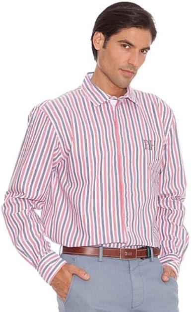 Pedro del Hierro Camisa Doble Raya Bordado Marino/Rojo S: Amazon.es: Ropa y accesorios