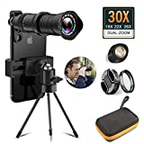 Aokin 30x Cell Phone Camera Lens, 18x to 30x Telephoto Zoom Lens Dual Focus HD 4K, Free UV Lens Detachable Clamps Strong Tripod Portable Package for iPhone XR,XS MAX,XS,X,8,7,6,6s Plus Smartphone
