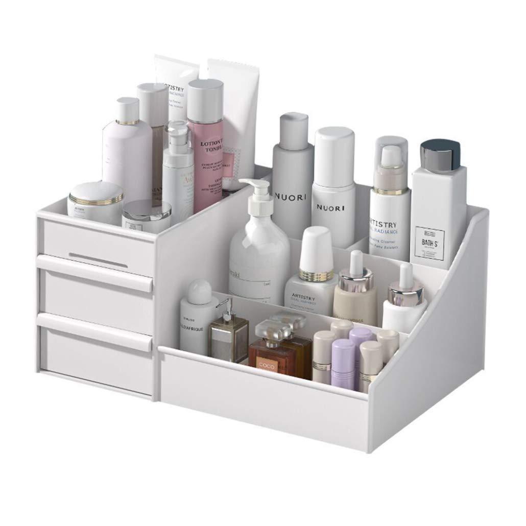 Cosmetic Storage Box, Makeup Organizer Cabinet/ Drawer Type Vanity Organizer /Dormitory Desktop Sundries Storage Shelf (M, White)