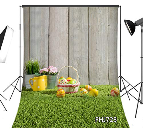 LB Rustic Wood Floor Easter Backdrop for Photography 5x7ft Fabric Green Grass Spring Background Customized Children Kids Adult Portraits Photo Backdrop Studio Props,Washable