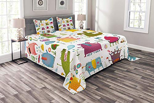 Lohebhuic Funny Coverlet Set Queen Size, Cute Cartoon Monsters Kids Design Let's Dance Groovy Fun Creatures in Garden Boho, Decorative Quilted 3 Piece Bedspread Set with 2 Pillow Shams, Multicolor
