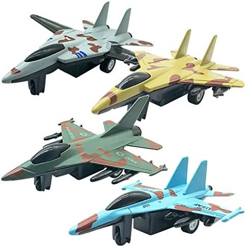 XGao Toys for Kids 4Pcs Aviation Fighter Model Toy Mini Simulation Alloy Pull Back Aircraft Toddlers Boys Child Puzzle Science Play Set Family Ornaments Simulated Airplane Models (AS Show)
