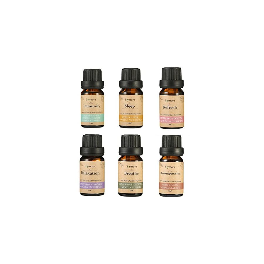 Skymore Top 6 Essential Oil Blend Gift Set, 100% Pure Aromatherapy Oils for Diffuser, Best Therapeutic Grade Essential Oil Kit 6/10ml (Sleep, Breathe, Relaxation, Refresh, Immunity, Decompression)