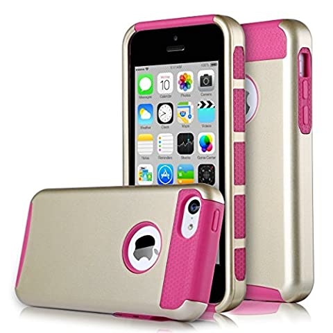 iPhone 5C Case, KAMII Dual Layer Hybrid Luxury Fashion Shockproof Soft Hard Plastic Hard Shell and Flexible TPU Case Cover for Apple iPhone 5C (Gold (Iphone 5c Cases Of Mice And Men)