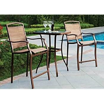 Amazon.com: 3 Piece Bar Height Bistro Table Chair Set