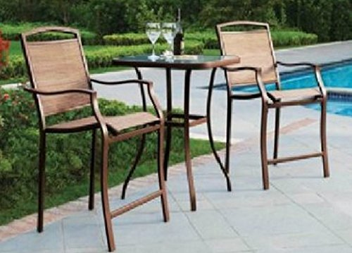 Premium Outdoor Bistro Sets Patio Furniture Set Table 3 Piece Bar Height - Set 3 Piece Bar Table