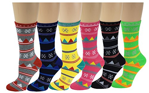 Sumona 6 Pairs Women Colorful Fancy Design Soft & Stretchy Novelty Crew Socks (Snowflake)