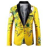 YFFUSHI Mens Floral Blazer Jacket Slim Fit Embroidered Nightclub/Performance