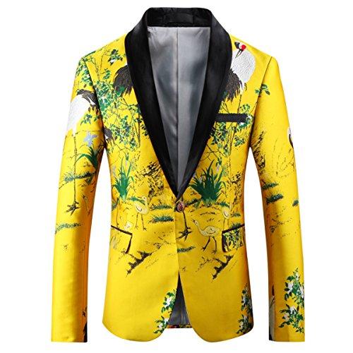 YFFUSHI Mens Floral Blazer Jacket Slim Fit Embroidered Nightclub/Performance by YFFUSHI