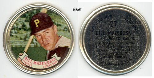 1964 Topps Metal Coins (Baseball) Card# 27 Bill Mazeroski of the Pittsburgh Pirates ExMt Condition