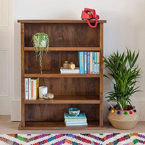 ANGEL FURNITURE Solid Sheesham Wood Open Space Saver Bookshelf  Honey Colour