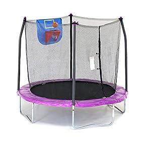 Skywalker Trampolines Jump N' Dunk Trampoline with Safety Enclosure and Basketball Hoop, 8-Feet