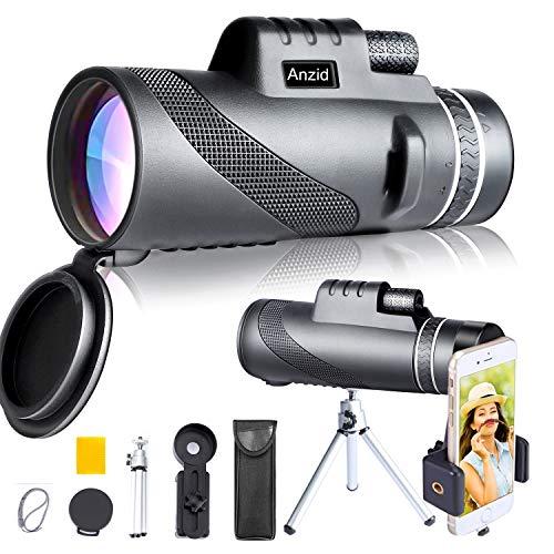 Monocular Telescope with Smartphone Holder & Tripod 12X50 High Definition High Power Zoom BAK4 Prism & FMC HD Waterproof monocular Binoculars for Bird Watching Camping Wildlife Hiking Travel (Black1)