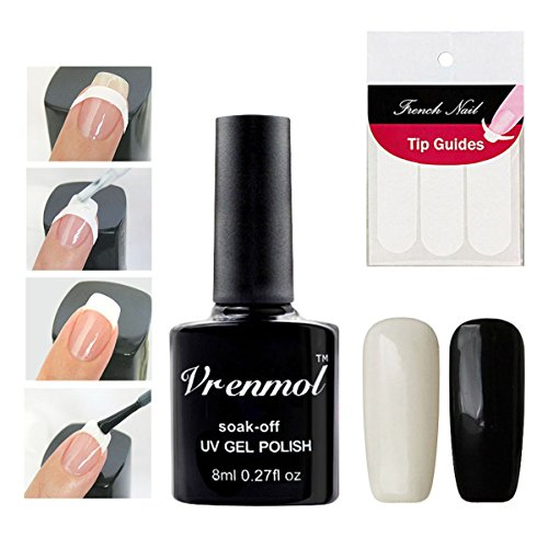 Vrenmol French Manicure Nail White Black Nail Polish Gel Set Nail Art Free Tip Guides Stickers (Best French Manicure Set)