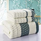 Bath Towels Hand Towel Sets,cotton, High Absorbent, For Home, Outdoor and Travel Use (green)