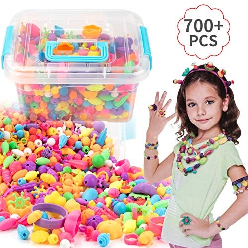 EXTSUD Pop Beads Set 700PCS+ DIY Jewelry Set BPA Free Making Necklace, Bracelet, Hairband and Ring Pop Snap Beads Set Creativity DIY Bead for Kids Girls Toddlers]()